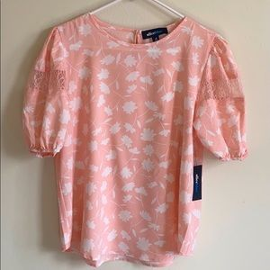 Alice Blue Women's Top, Peachwithfloral, Size M